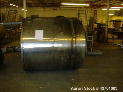 """Used-1100 Gallon Stainless Steel Tank, open top (with lid), cone bottom, 5'10"""" wide x 6' long, (1) 2"""" outlet."""