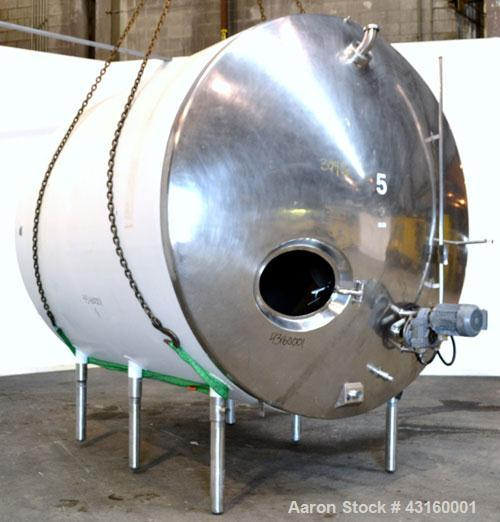 "Used- Storage Tank, 3000 Gallon, 304 Stainless Steel, Horizontal. 90"" Diameter x 96"" straight side, dished heads. Insulated ..."