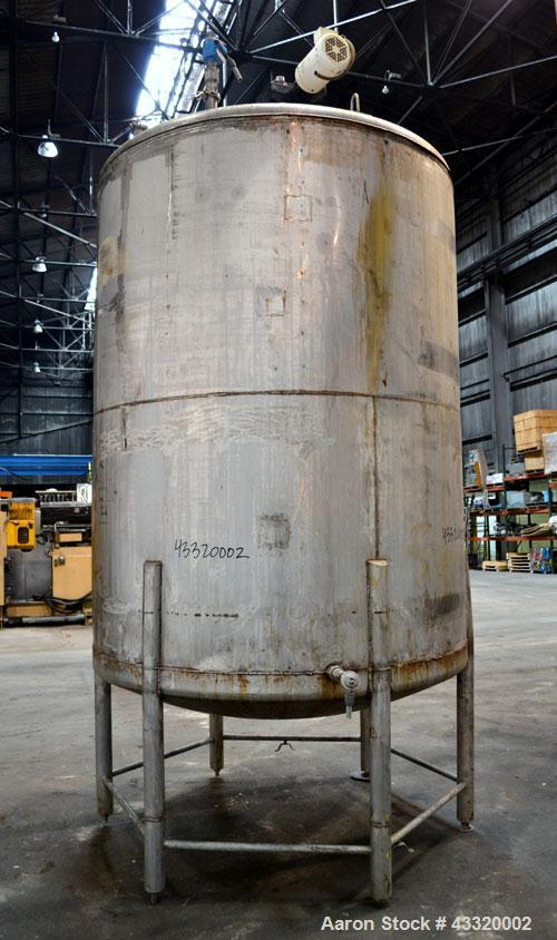 """Used- Tank, 1900 Gallon, 316 Stainless Steel, Vertical. Approximate 76"""" diameter x 92"""" straight side, dished top and bottom...."""