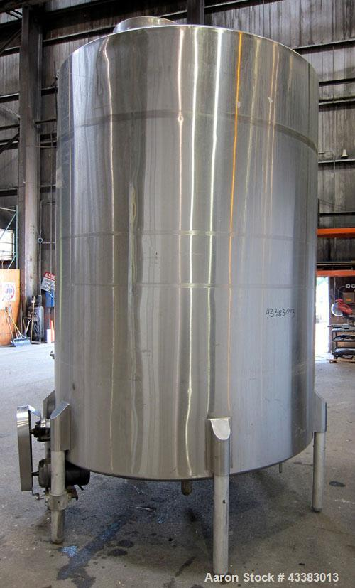 "Used- Tank, 2225 Gallon, 304 Stainless Steel, Vertical. Approximate 79"" diameter x 105"" straight side, flat welded top, slop..."