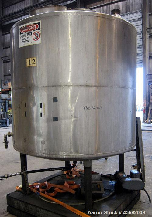 "Used- Tank, 1100 Gallon, 304 Stainless Steel, Vertical. Approximately 72"" diameter x 60"" straight side, dished top and botto..."