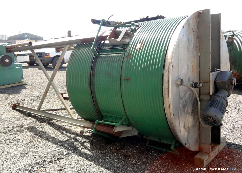 """Used- Tank / Kettle, 1800 Gallon, 304 Stainless Steel, Vertical. Approximate 78"""" diameter x 84"""" straight side, open top with..."""