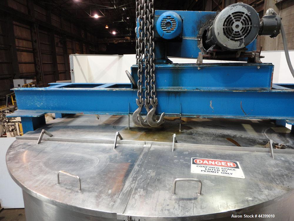 """Used- Tank, 3400 Gallon, 304 Stainless Steel, Vertical. Approximate 84"""" diameter x 143"""" straight side, flat top with 1/3 hin..."""