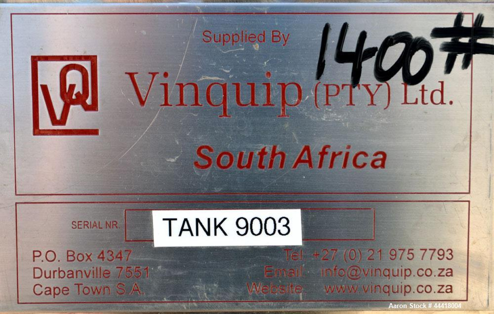 """Used- Vinquip Jacketed Beverage Tank,  2284 Gallon, 304 Stainless Steel, Vertical. Approximately 83"""" diameter x 97-1/2"""" stra..."""