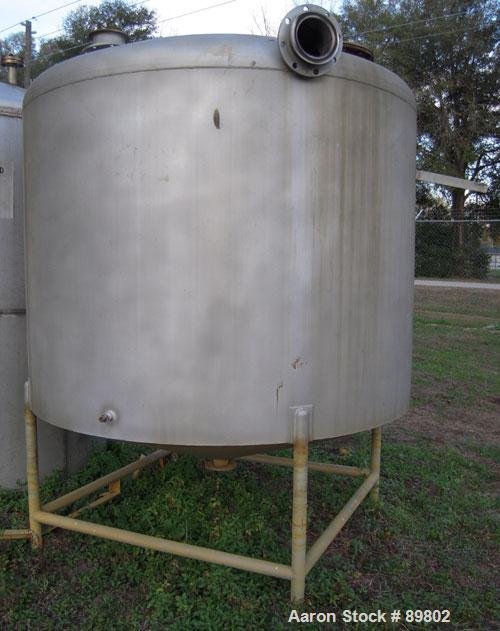 """Used- Tank, 1,500 Gallon, stainless steel, vertical. 84"""" diameter x 60"""" straight side. Dish top, cone bottom. Openings:  top..."""