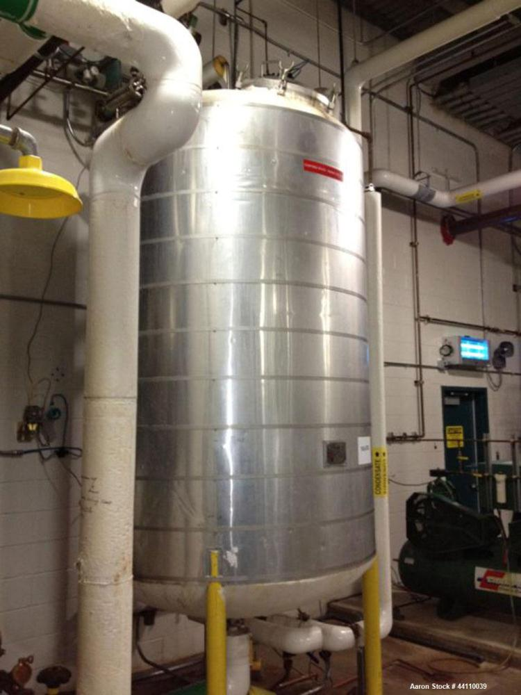 Used- Northland Stainless Pressure Tank, 1000 Gallon, 316L Stainless Steel, Vertical. Internal rated for 15 psi & Full Vacuu...