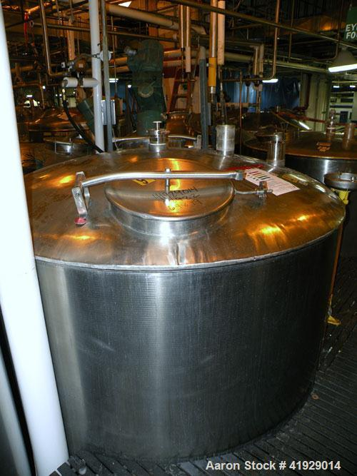 "Used- Norwalk Tank, 2000 Gallon,  stainless steel, vertical. 76"" diameter x 106"" straight side, dished top and bottom. Top s..."