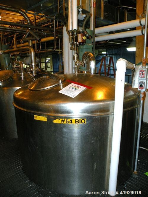 "Used- Norwalk Tank, 2000 Gallon,  Stainless Steel, Vertical. 76"" diameter x 106"" straight side, dished top and bottom. Off c..."