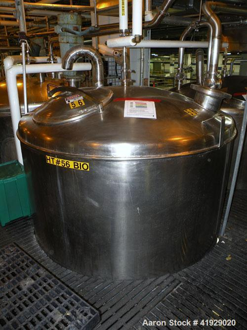 "Used- Norwalk Tank, 2000 Gallon,  Stainless Steel, Vertical. 76"" diameter x 106"" straight side, dished top and bottom. Openi..."