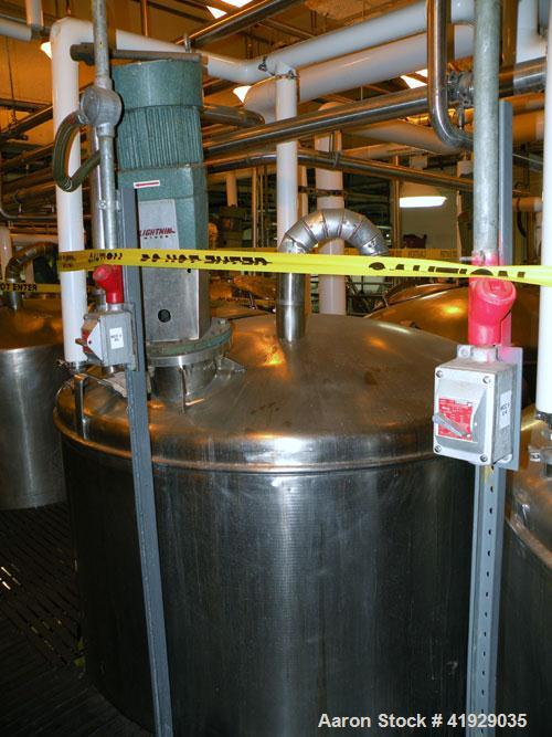 """Used- Norwalk Tank, 2000 Gallon,  Stainless Steel, Vertical. 76"""" diameter x 106"""" straight side, dished top and bottom. Off c..."""
