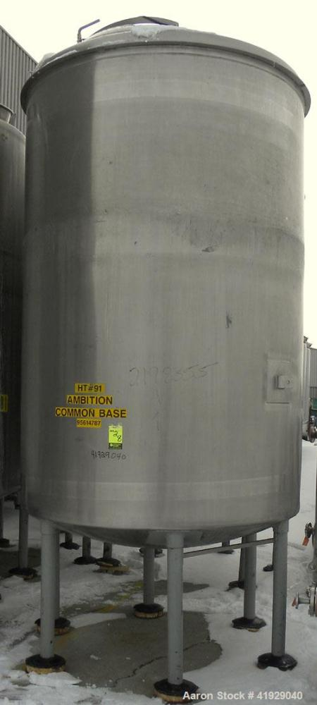 """Used- Norwalk Tank, 2000 Gallon, 316 Stainless Steel, Vertical. 76"""" diameter x 106"""" straight side, dished top and bottom. To..."""