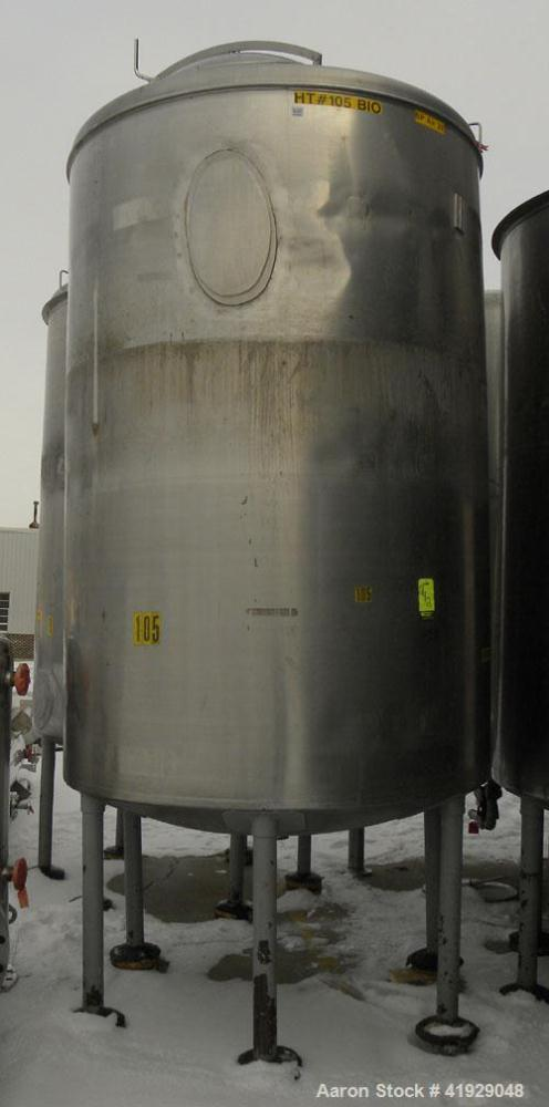 """Used- Norwalk Tank, 2000 Gallon, 316 stainless steel, vertical. 76"""" diameter x 108"""" straight side, dished 304 stainless stee..."""