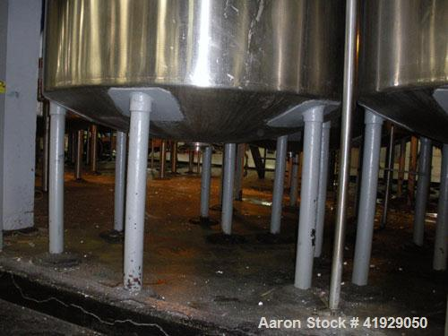 """Used- Norwalk Tank, 2000 Gallon, Stainless Steel, Vertical. 76"""" Diameter x 106"""" straight side, dished 304 stainless steel to..."""