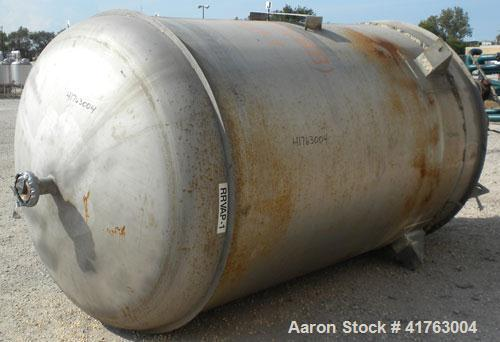 """Used- Mueller Pressure Tank, 2000 Gallon, Model F, 316L Stainless Steel, Vertical. 72"""" diameter x 105"""" straight side, 2 to 1..."""