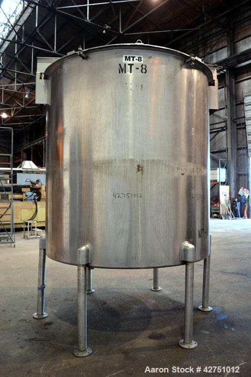 "Used- Perma-San Tank, 2000 Gallon, Model 2000 OVC, 304 Stainless Steel, Vertical. 84"" Diameter x 86"" straight side. Open top..."