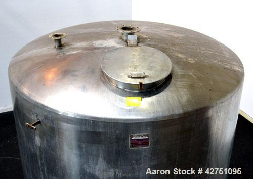 """Used- Perma-San Tank, 2000 Gallon, Model CVC, 316 Stainless Steel Vertical. 84"""" Diameter x 80"""" straight side. Dished top, co..."""