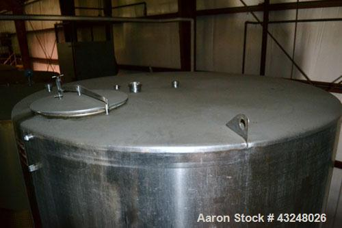 "Used- Perma-San Tank, 3000 Gallon, Model CVC, Stainless Steel, Vertical. Approximate 80"" diameter x 142"" straight side. Flat..."
