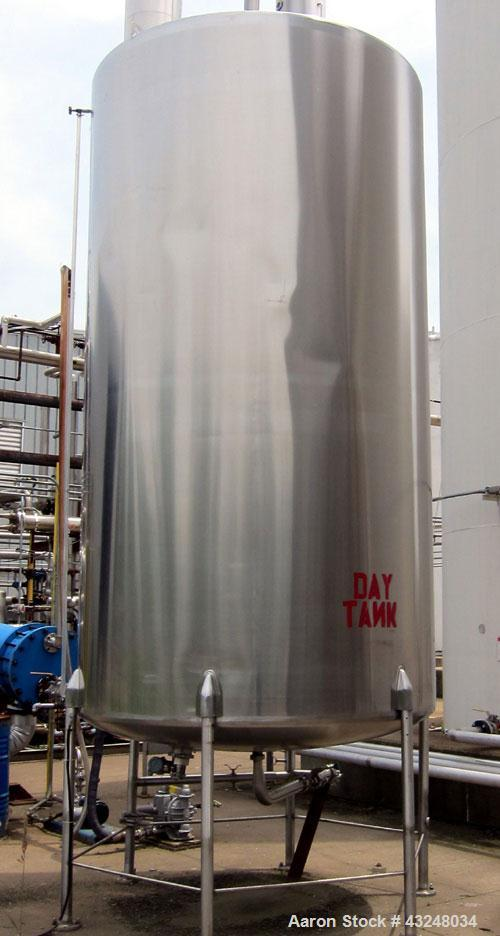 """Used- Perma-San Tank, 3000 Gallon, Model CVC, Stainless Steel, Vertical. Approximate 80"""" diameter x 142"""" straight side. Flat..."""
