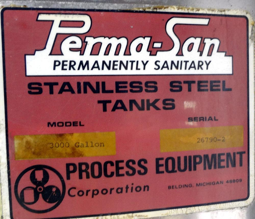 """Used- Perma-San Tank, 3000 Gallon, 304 Stainless Steel, Vertical.  Approximately 80"""" diameter x 143"""" straight side, flat wel..."""