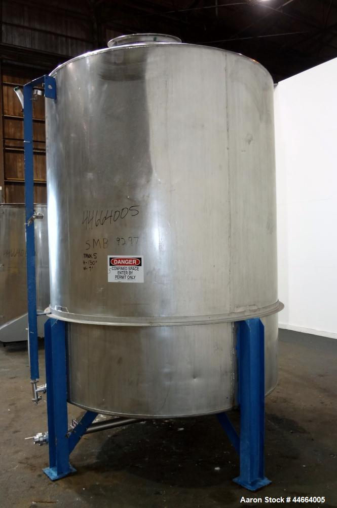"""Used- Tank, 2000 Gallons, 304 Stainless Steel, Vertical. 78"""" Diameter X 96"""" straight side, cone top and bottom. Side bottom ..."""