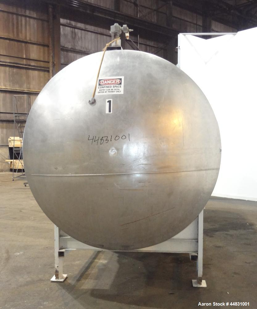 """Used- Perry Products Tank, 4700 Gallon, 304 Stainless Steel, Horizontal. Approximately 76"""" diameter x 240"""" straight side, di..."""