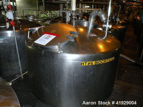 """Used- Perry Products Tank, 2000 Gallon, 304 stainless steel, vertical. 76"""" diameter x 106"""" straight side, dished top and bot..."""