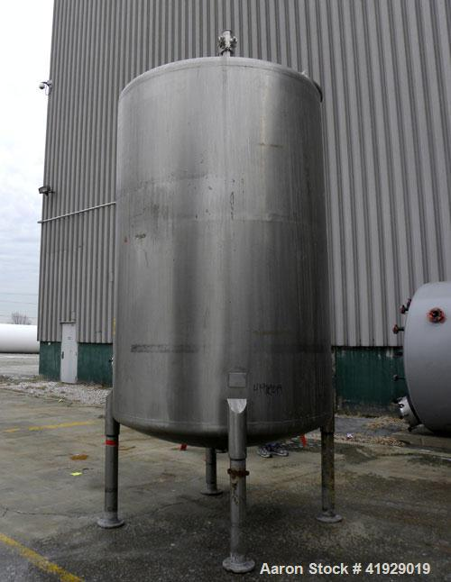 "Used- Perry Products Tank, 2000 Gallon, 316 Stainless Steel, Vertical. 76"" diameter x 108"" straight side, dished top and bot..."