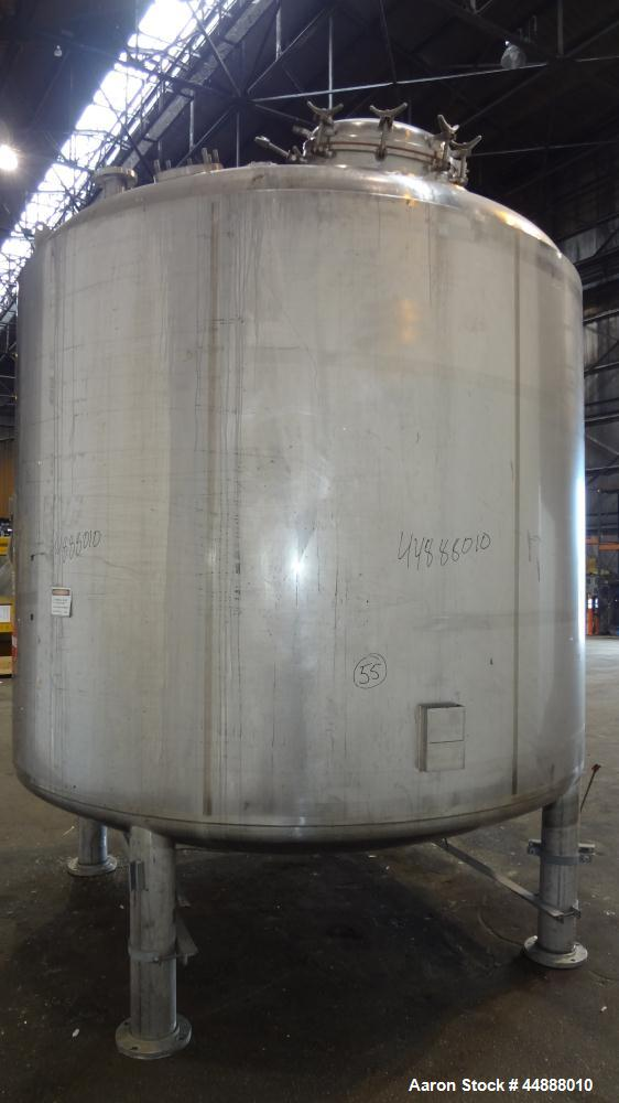 "Used- Precision Stainless Pressure Tank, 4000 Gallon, 304L Stainless Steel, Vertical. 108"" Diameter x 88"" straight side, dis..."