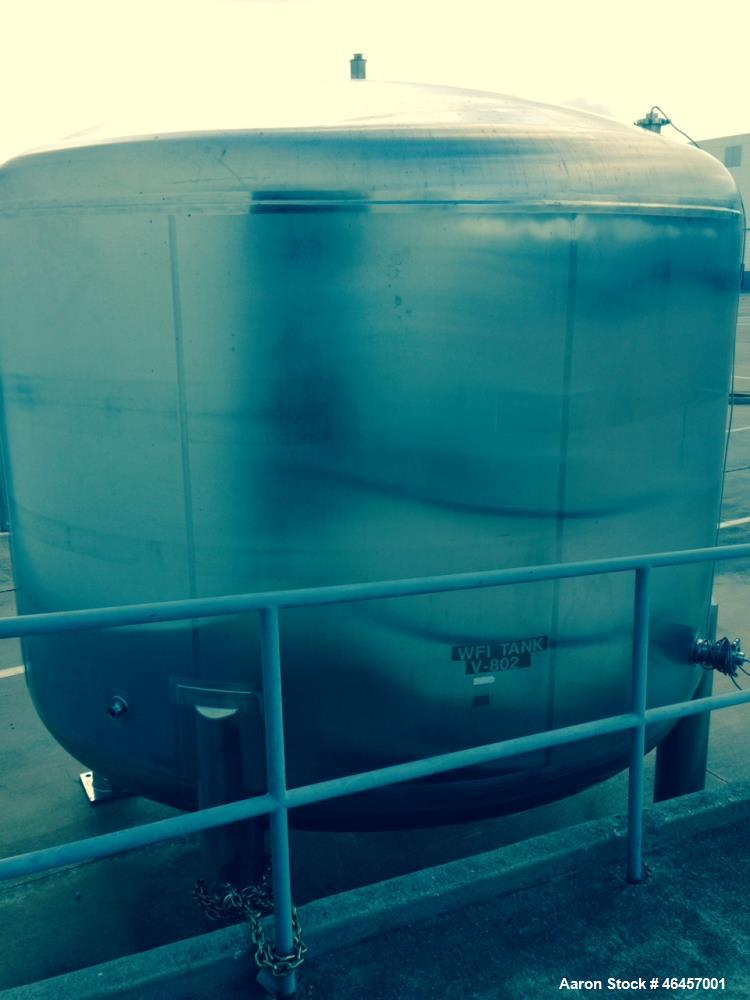 Used- 4,300 Gallon Precision Stainless WFI Tank. 316L stainless vessel, legs and jacket are 304 stainless steel. Internal el...