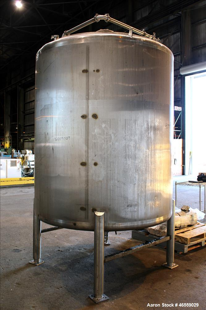 "Used- Precision Stainless Mixing Tank, 1,500 Gallon, 316 Stainless Steel, Vertical. Approximate 74"" diameter x 80"" straight ..."