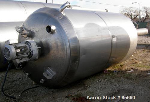 "Used- Reimelt Pressure Tank, 1981 Gallon (7500 Liter), 304 Stainless Steel, Vertical. 72"" diameter x 124"" straight side, dis..."