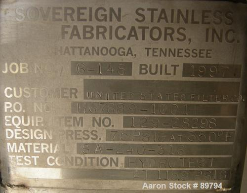 USED: Sovereign Stainless Fab Inc approximately 3750 gallon, 316 stainless steel, pressure tank. Vertical, dished heads, app...