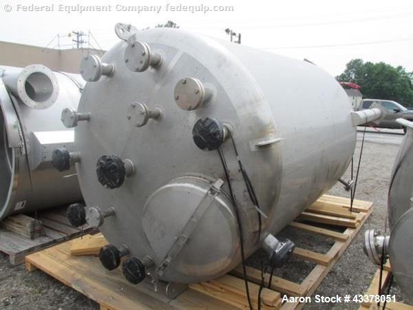 """Used- Stainless Fab Tank, 2000 Gallon. 316 Stainless steel construction, approximate 78"""" diameter x 96"""" straight side, dishe..."""