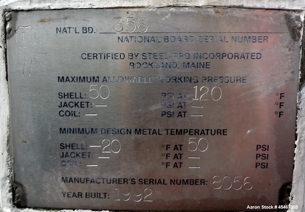 Used- 1500 Gallon Stainless Steel Steel-Pro Pressure Tank
