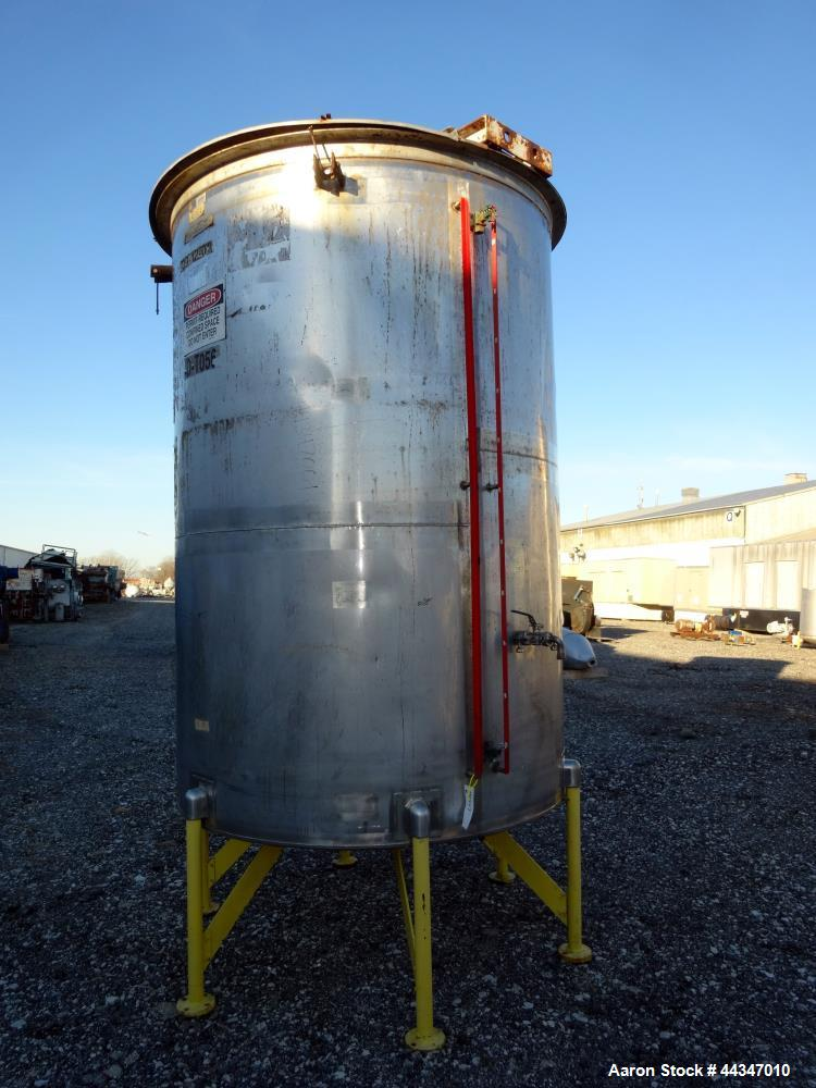 "Used- United Utensils Tank, 2000 Gallon, 304 Stainless Steel, Vertical. Approximate 72"" diameter x 108"" straight side. Open ..."