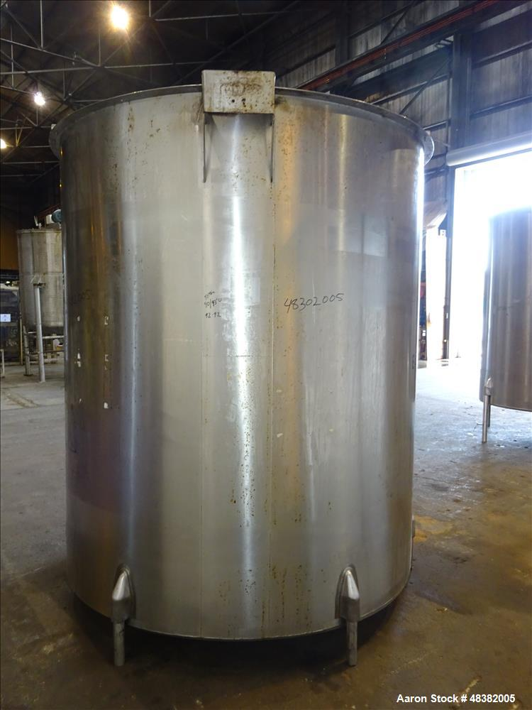 "Used- Tank, Approximately 2,000 Gallon, 316 Stainless Steel, Vertical. Approximate 80"" diameter x 91"" straight side, flat to..."