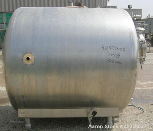 Used- Walker Stainless Pressurized Sterilizer Tank, 1000 Gallon, 304 Stainless Steel, Horizontal. Jacketed and insulated. 66...