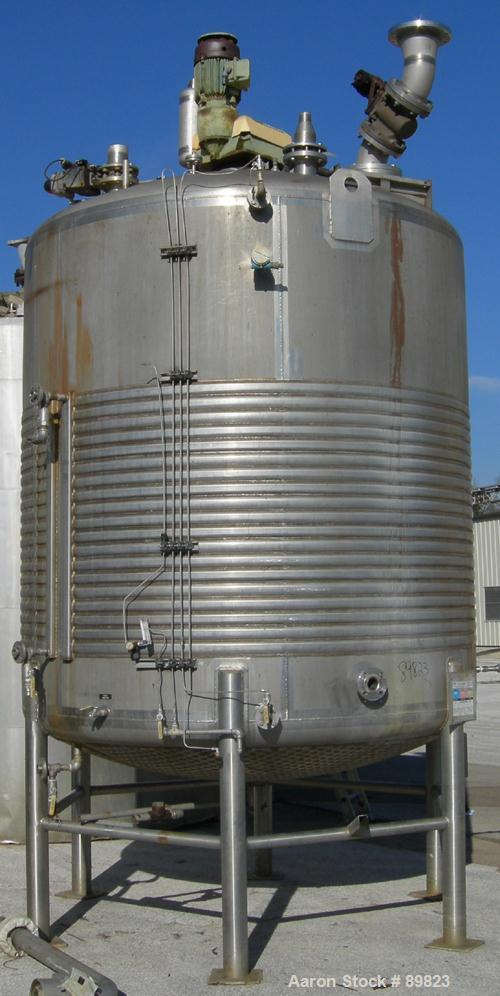 """USED: Walker jacketed mix tank, 3000 gallon, 304L stainless steel, vertical. 7'6"""" diameter x 8' straight side. Dish top, dis..."""