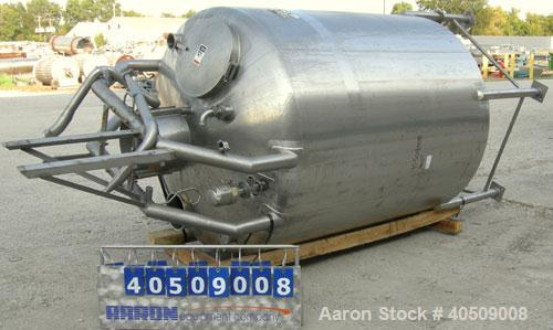 "Used- Walker Tank, 1000 Gallon, 316 Stainless Steel, Vertical. 66"" diameter x 72"" straight side, dished top and bottom. Inte..."