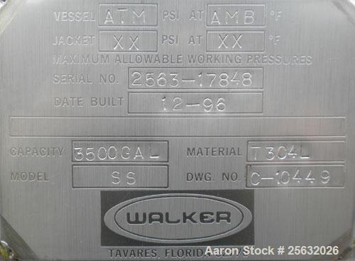 "Used- Walker Tank, 3,500 Gallon, 304L stainless steel, vertical. Approximate 96"" diameter x 120"" straight side, dish top and..."