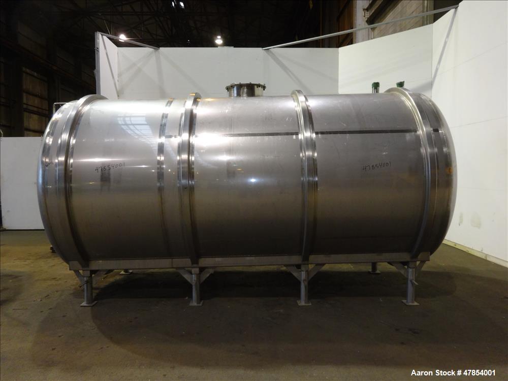 Used- Walker Tank, Model SSHHT, 4,500 Gallon, 304 Stainless steel. Horizontal