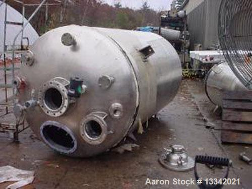 "Used-Walker 1,600 Gallon 316 Stainless Steel Polished Pressure Tank.  64"" Diameter x approximately  9' with dished top and b..."