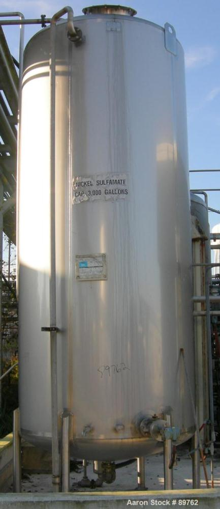 "USED: Walker 3,000 gallon, type 304L stainless steel, storage tank. Vertical, dished heads. Approximate 75"" diameter x 14' s..."