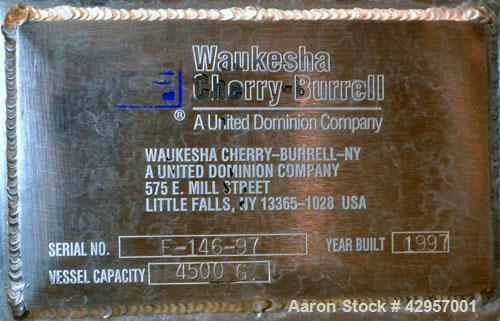 "Used- Cherry-Burrell Storage Tank, 4500 Gallon, Model CVD, 316L Stainless Steel, Vertical. 96"" Diameter x 135"" straight side..."