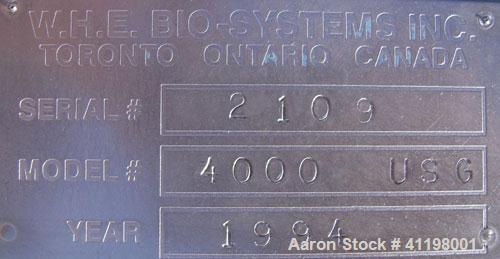 """Used- W.H.E Bio-Systems Inc. Tank, 4000 Gallon, 304 Stainless Steel, Vertical. 92"""" diameter x 140"""" straight side. Slight con..."""