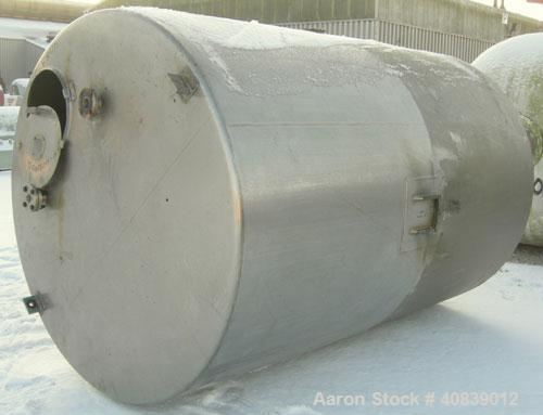 """Used- Will-Flow Tank, 2400 Gallon, 304 Stainless Steel, Vertical. 78"""" diameter x 114"""" straight side. Flat top, dish bottom. ..."""
