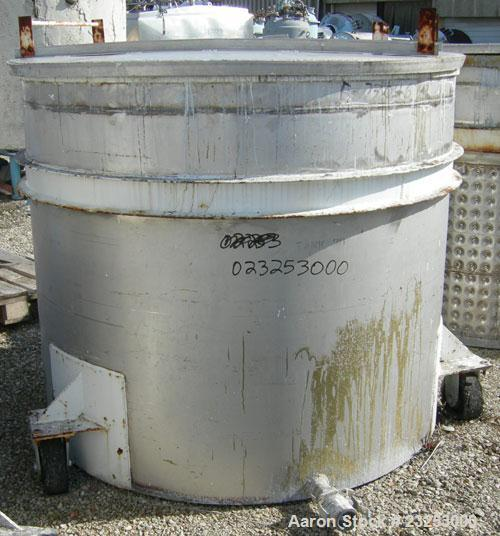"Used:Central Fabricators stainless steel mixing can , 60"" diameter x  50"" deep, sloped bottom, 2"" side bottom outlet. Mounte..."