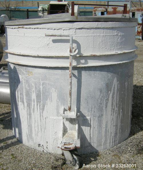 """Used: Central Fabricators stainless steel mixing can , 60"""" diameter x  50"""" deep, sloped bottom, 2"""" side bottom outlet. Mount..."""