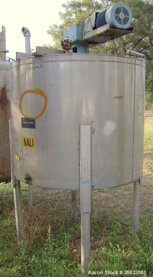 "Used-Tank, Approximately 500 Gallons, Stainless Steel, Vertical. 60"" diameter x 48"" straight side. Flat top, dish bottom. 2""..."
