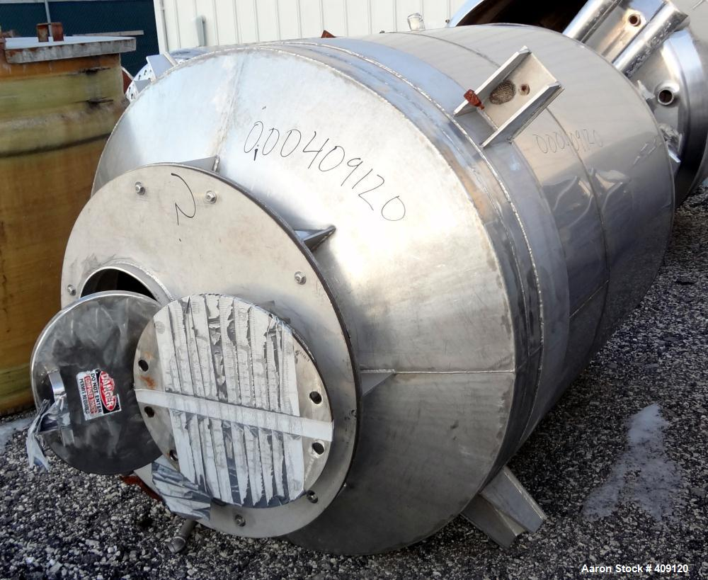Used- Tank, 875 Gallon, 304 Stainless Steel, Vertical. 60 Diameter x 66 straight side, coned top, dished bottom. Openings: t...